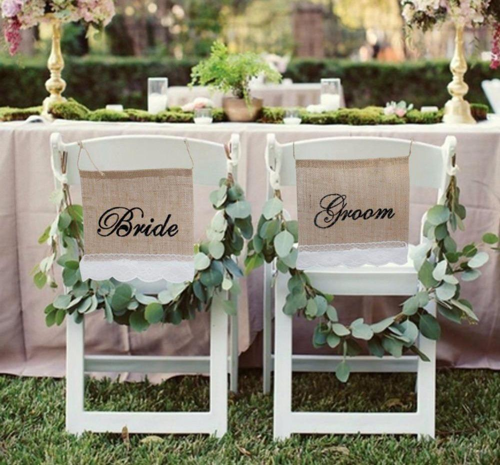 Bride Groom Burlap Chair Banner 2 Piece Set