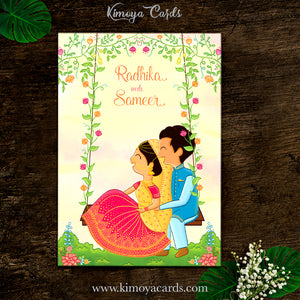 Cute Doodle Wedding Card - North Indian Wedding