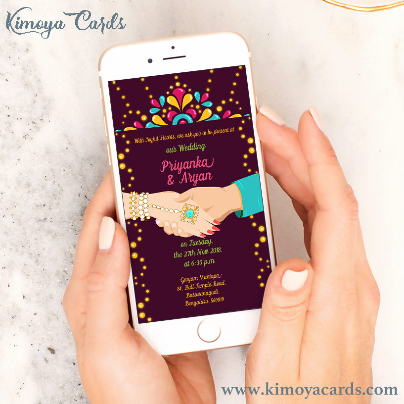This Indian Wedding E-card is a vector illustration of the beautiful moment of unison, where soulmates hold hands and walk towards marital bliss.. This creative & quirky wedding e-invite design is decorated with motifs inspired by kundan & precious gem-stone traditional indian jewellery, which brings an air of glamour that Indian Weddings are famous for..  You can buy this Ecard design at Kimoya Cards or visit www.kimoyacards.com