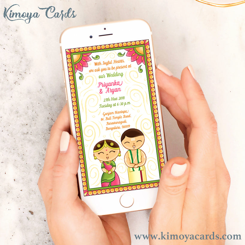 This Tamil Brahmin wedding E-card design is inspired by the adorable Japanese Kokeshi dolls. This quirky & cute Iyer wedding E-invite features the bride & groom in traditional Iyer bridal attire of Madisaar saree & Panchagajam. This creative wedding E-invite illustration is decorated with traditional Indian folk art motifs given a contemporary twist.. You can buy this Ecard design at Kimoya Cards or visit www.kimoyacards.com