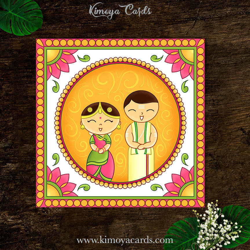 This Tamil Brahmin wedding card design is inspired by the adorable Japanese Kokeshi dolls. This quirky & cute Iyer wedding invite features the bride & groom in traditional Iyer bridal attire of Madisaar saree & Panchagajam. This creative wedding card illustration is decorated with traditional Indian folk art motifs given a contemporary twist.. This is a print ready wedding invite which comes along with a customised envelope to match it! You can buy this design at Kimoya Cards or visit www.kimoyacards.com