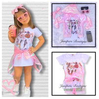 2pc Donut Dress & Iridescent Pink Jacket Set
