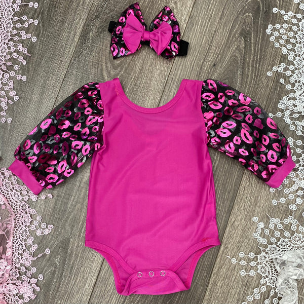 Girls Valentines Leotard Romper and Headband