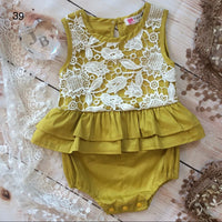 Golden Yellow And Lace Romper