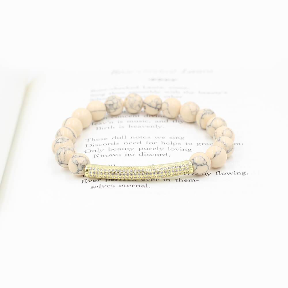 Susan Balaban Designed Healing Bracelet - This blush pink healing yoga magnesite bracelet for self-compassion and love.