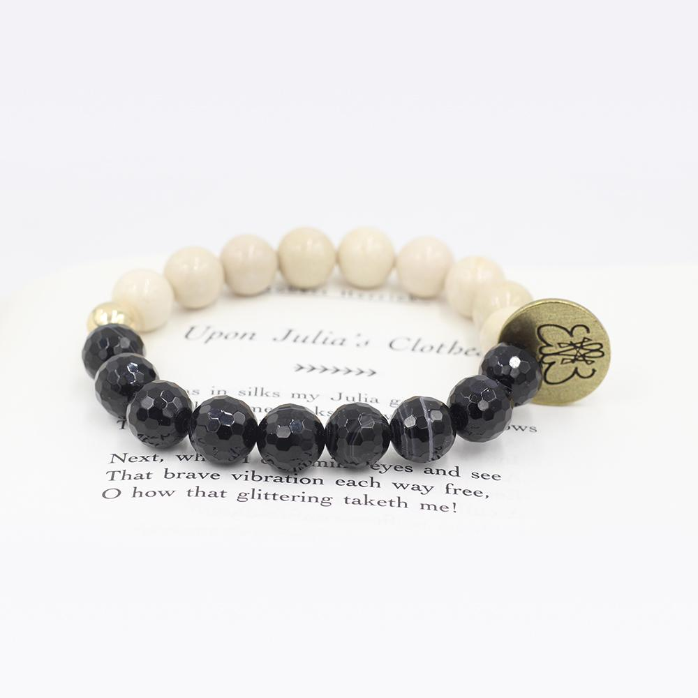 Susan Balaban Designed Healing Bracelet - This faceted black agate and riverstone bracelet for clarity and focus.