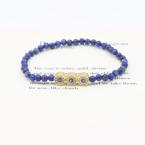 Sodalite Bracelet with Three Eyes