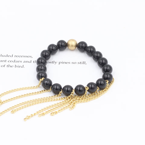 Children's Black Agate Bracelet with Chain