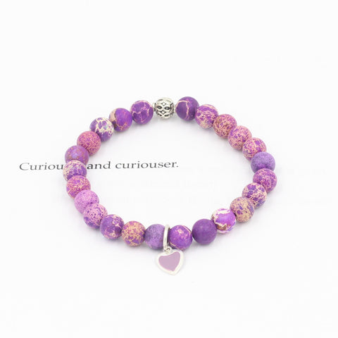 Children's Purple Jasper Bracelet with Red Heart