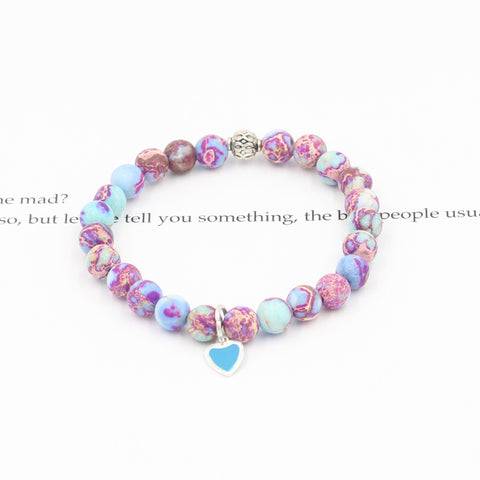 Children's Tie Dye Jasper Bracelet with Blue Heart
