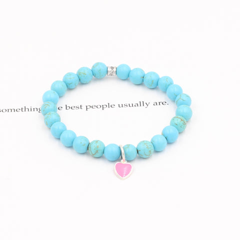 Children's Blue Magnesite Bracelet with Pink Heart