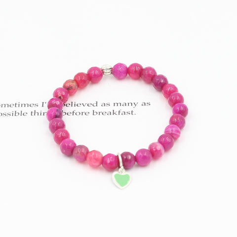 Children's Faceted Agate Bracelet with Green Heart