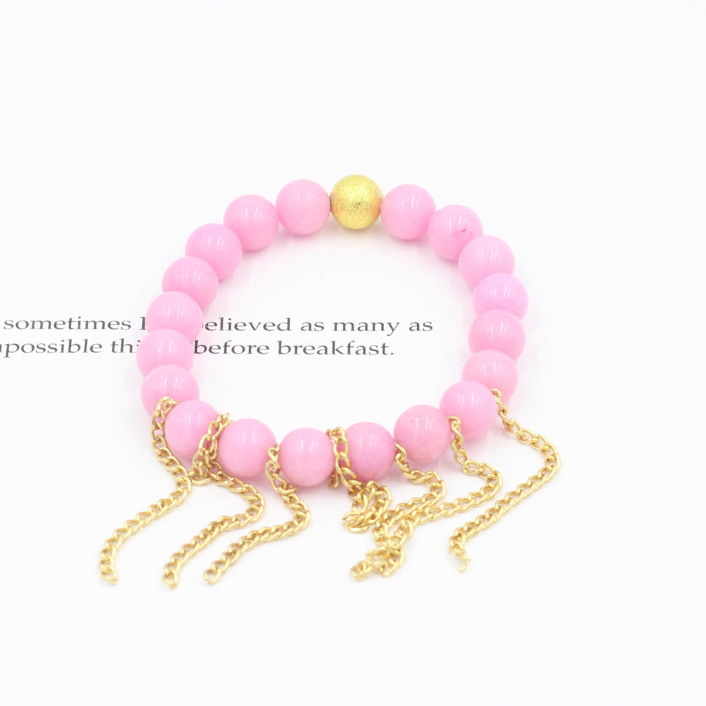 Children's Pink Jade Bracelet with Fringe