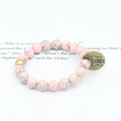 Children's Pink Magnesite Bracelet with Signature Logo