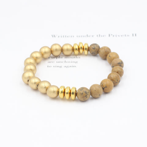 Gold Wood and Jasper Bracelet