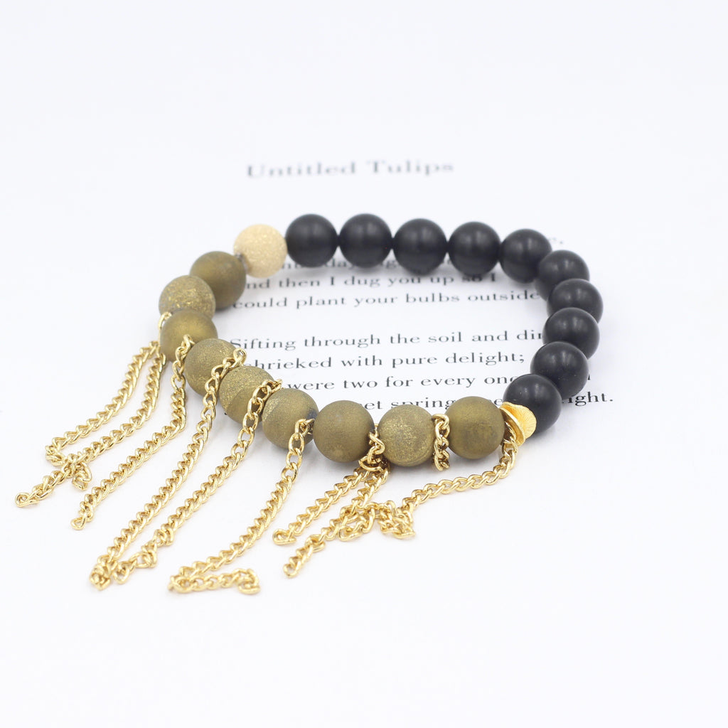 Gold Orbs & Black Matte Bracelet with Fringe
