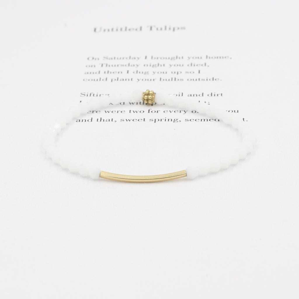 White Swarovski Bracelet with Gold Bar