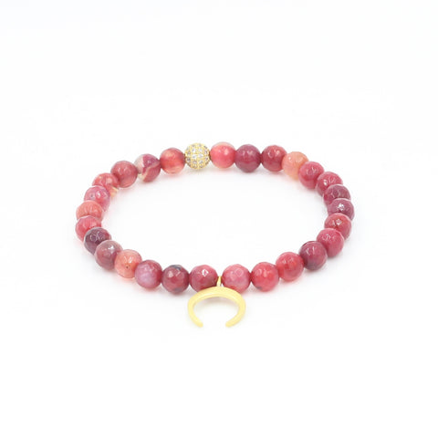 Faceted Red Agate Bracelet with Horn Charm