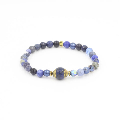 Gemstone Mix Bracelet with Tibet Lapis Bead