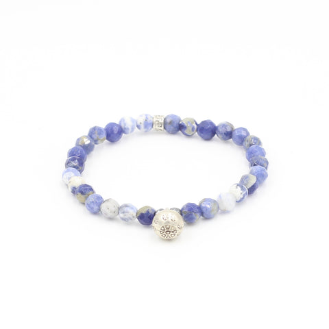 Faceted Sodalite Bracelet with Silver Bell