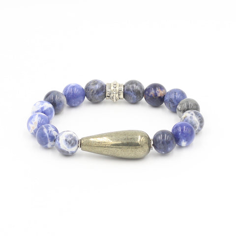 Sodalite Bracelet with Pyrite Teardrop