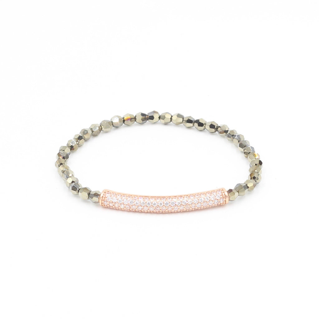 Gold Swarovski Bracelet with Pave Tube
