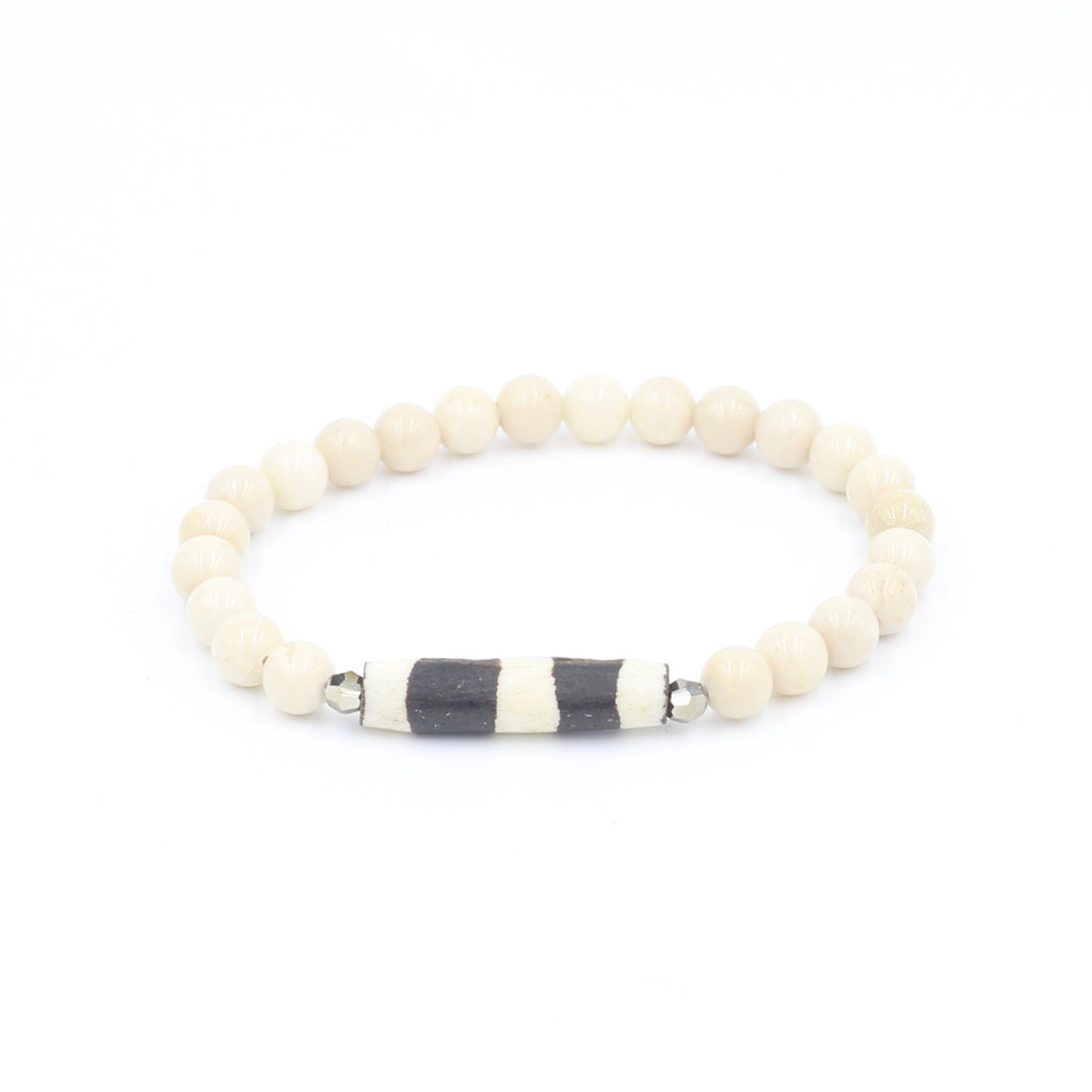 Riverstone Bracelet with Striped African Bead