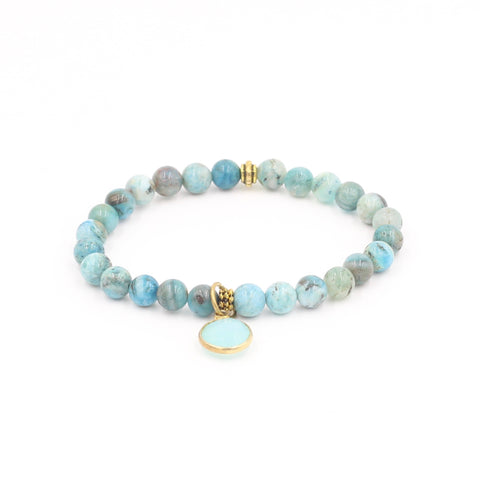 Light Blue Jasper with Chalcedony Charm Bracelet