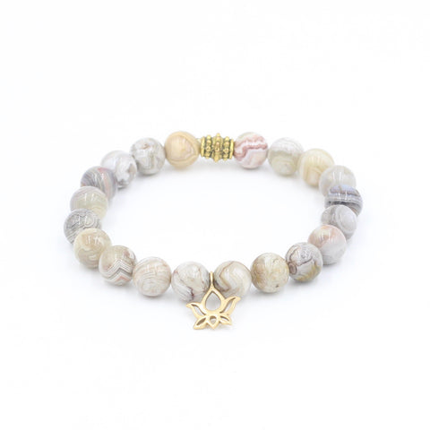 Bamboo Agate Bracelet with Lotus
