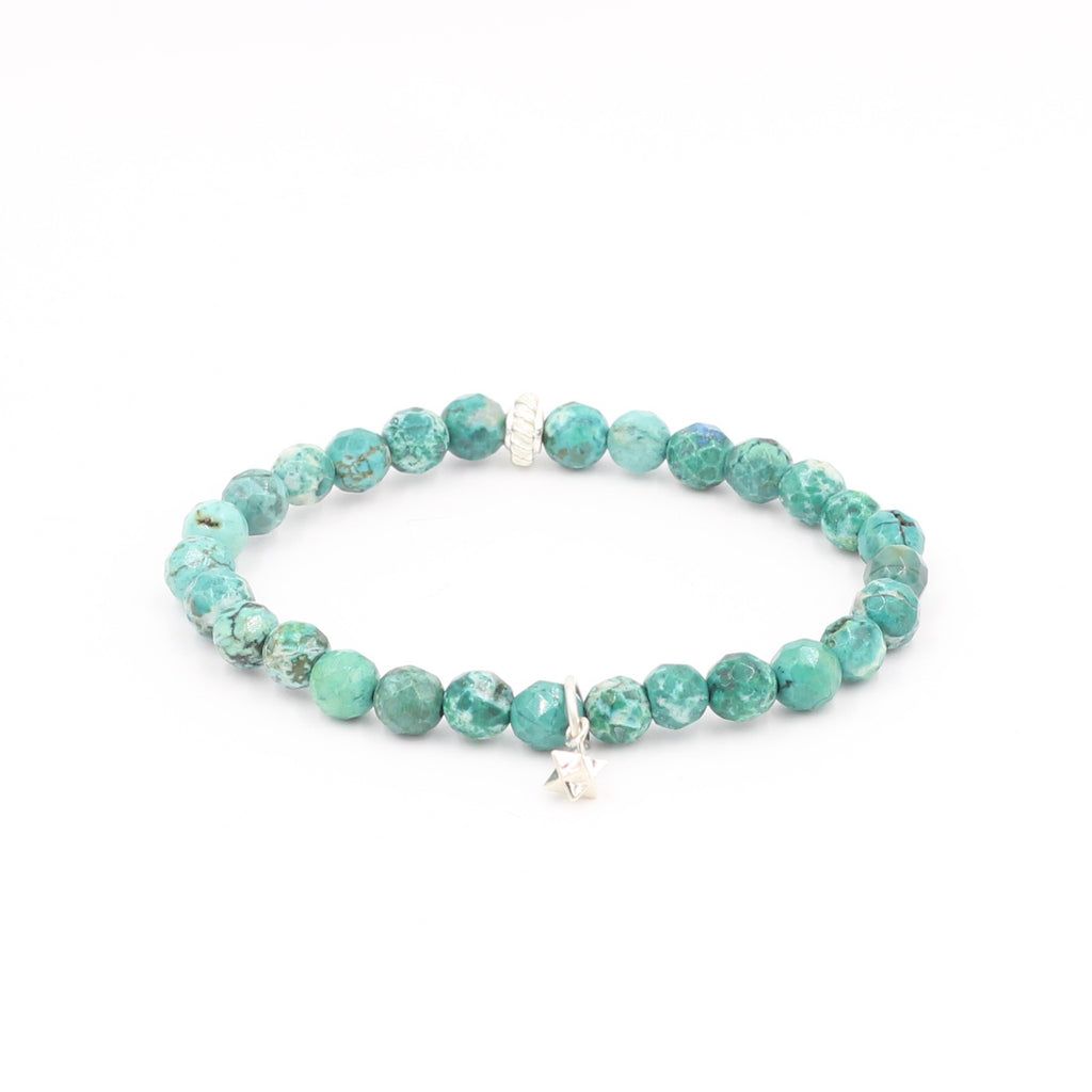 Faceted Turquoise Bracelet with Merkaba Charm