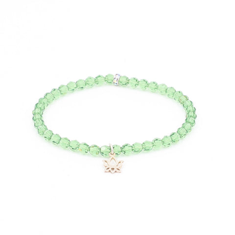 Green Swarovski Crystal Bracelet with Lotus Charm