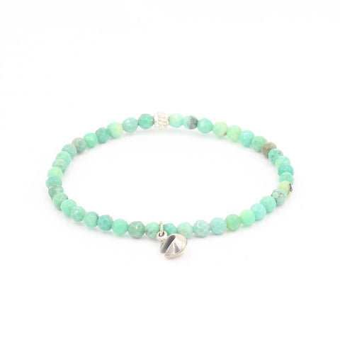 Green Grass Agate Bracelet with Fortune Cookie Charm