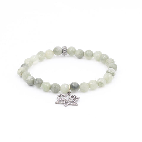 Seaweed Quartz Bracelet with Pave Lotus