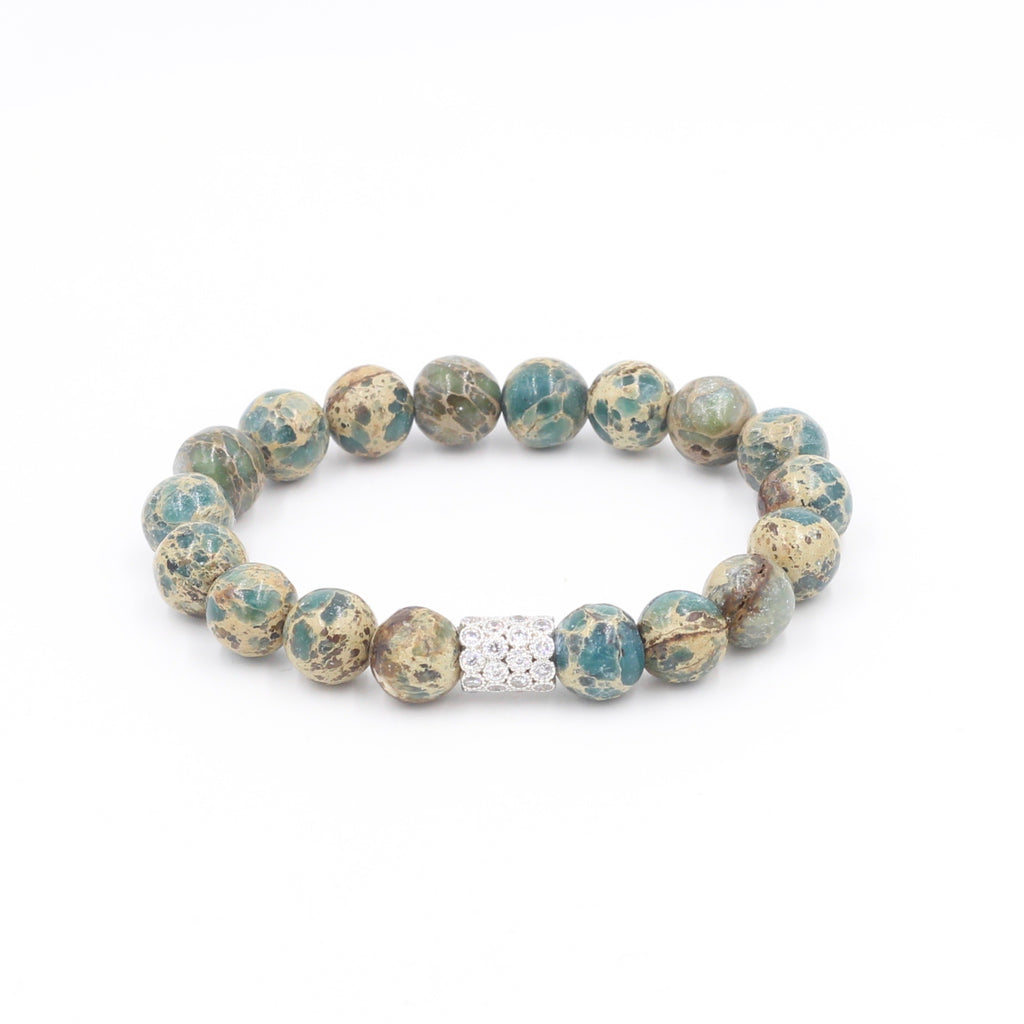 Impression Teal Jasper Bracelet with Pave Close