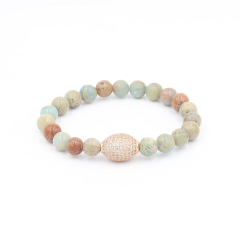 African Jasper Bracelet with Oval Pave Bead