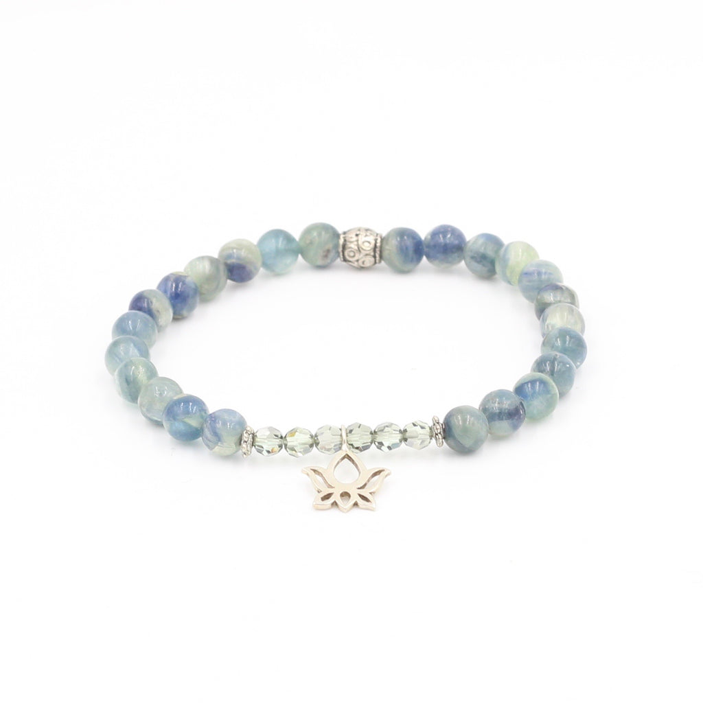 Blue Kyanite & Swarovski Bracelet with Lotus