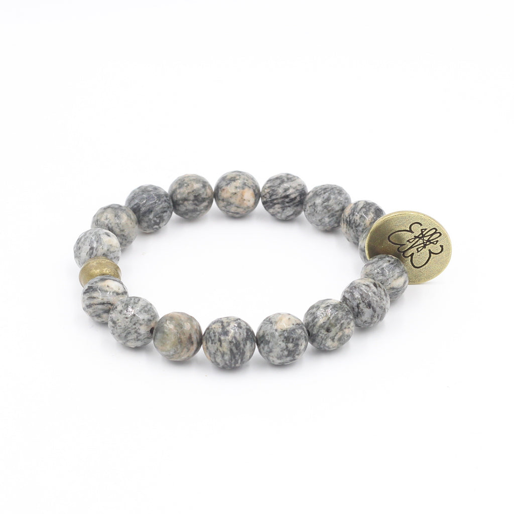 Faceted Spider Jasper Bracelet with Signature Charm