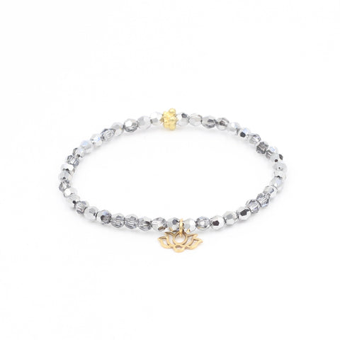 SIlver Swarovski Bracelet with Lotus