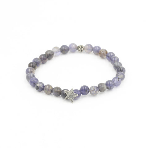 Iolite Bracelet with Pewter Star