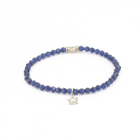 Dark Blue Swarovski Bracelet with Lotus Charm