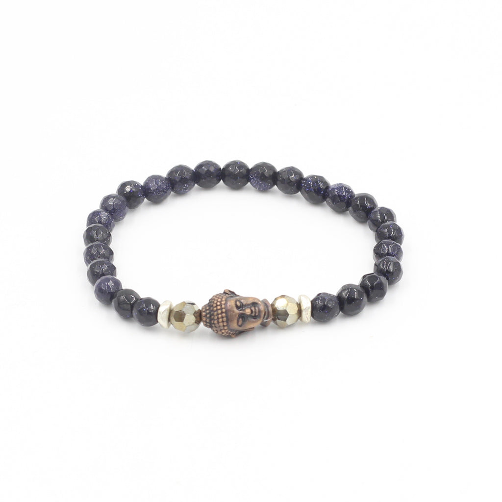 Faceted Blue Goldstone Bracelet