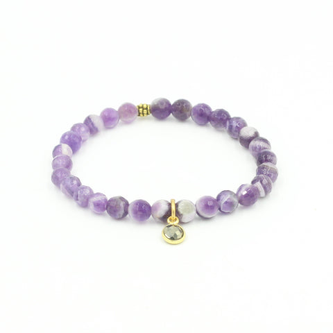 Faceted Dogtooth Amethyst Bracelet with Pyrite Charm