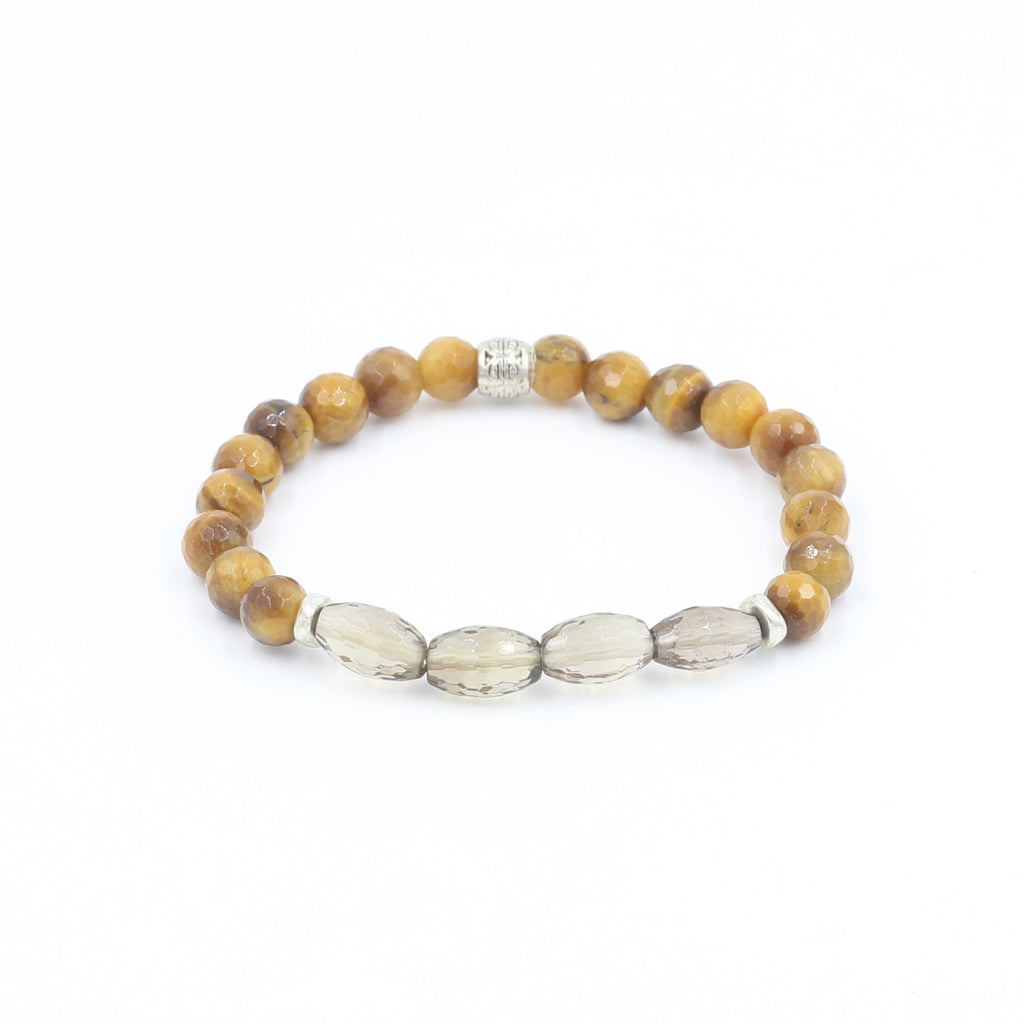Tiger's Eye Bracelet with Smokey Quartz