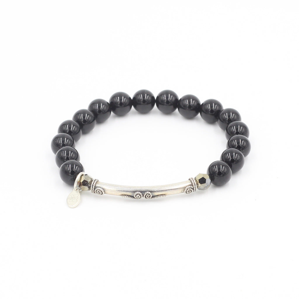Black Tourmaline with Swarovski & Silver Bar Bracelet