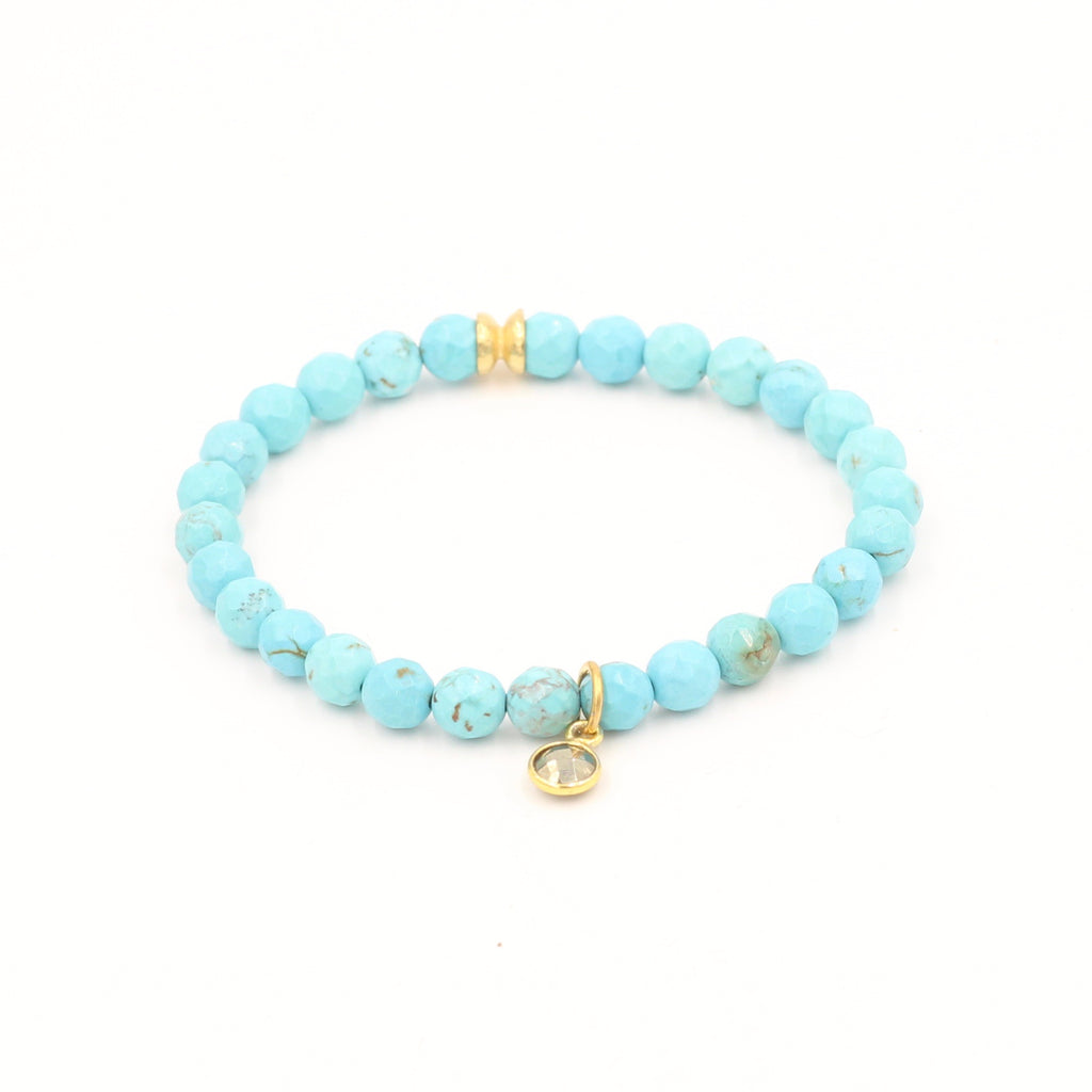Turquoise Bracelet with Pyrite Charm