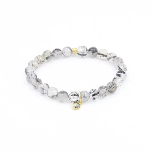 Rutilated Quartz Bracelet with Pyrite Charm