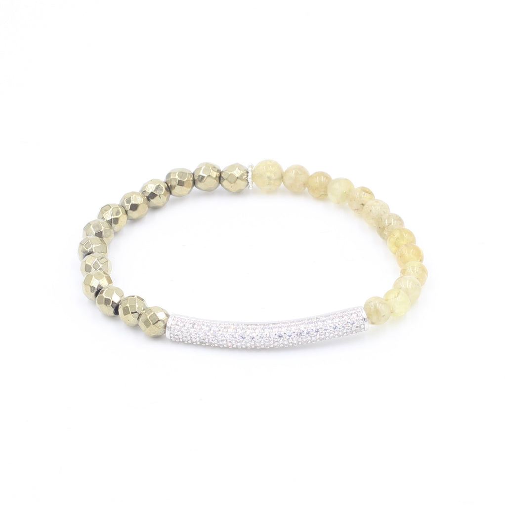 Citrine & Pyrite Bracelet with Pave Bar