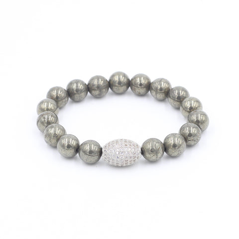 Pyrite Bracelet with Oval Pave Bead