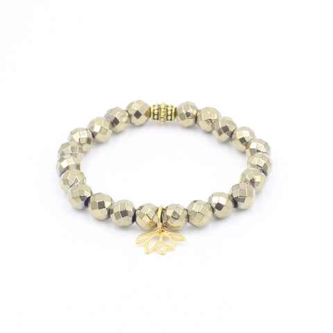 Faceted Pyrite Bracelet with Lotus Charm