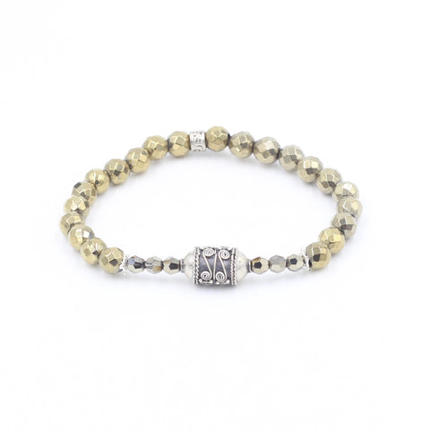 Faceted Pyrite Bracelet with Unique Bali Bead